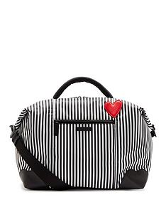 lulu-guinness-blackchalkclassic-red-heart-stripes-fenella-weekend-holdall