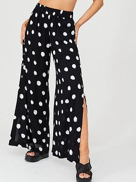 V by Very V By Very Side Button Detail Crinkle Beach Trousers - Spot Print Picture