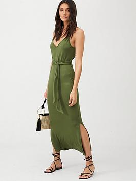 V by Very V By Very Strappy Belted Midi Dress - Khaki Picture