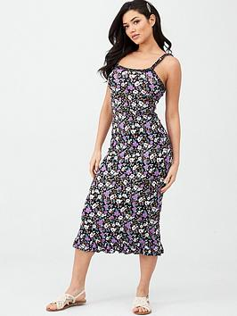 V by Very V By Very Ruffle Detail Jersey Midi Dress - Floral Print Picture