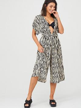V by Very V By Very Viscose Crop Beach Jumpsuit - Zebra Print Picture