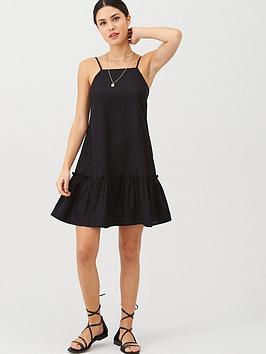 v-by-very-dropped-hem-linen-mixnbspdress-black