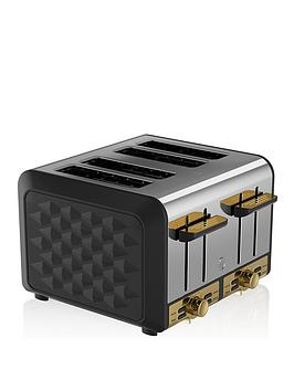 Swan Swan Swan Gatsby Range 4-Slice Toaster - Black/Gold Picture