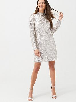 mint-velvet-sequin-mini-dress-nude