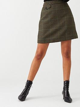 Warehouse Warehouse Check Pelmet Skirt - Khaki Picture