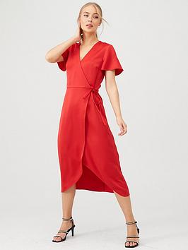 Warehouse Warehouse Satin Wrap Midi Dress - Red Picture