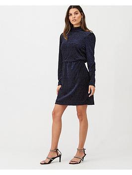 warehouse-velvet-square-high-neck-dress