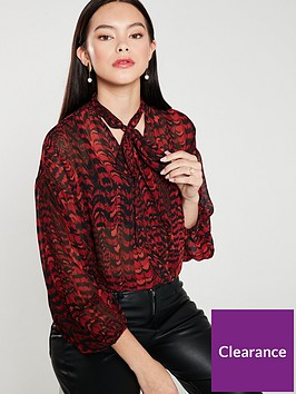 warehouse-feather-print-pussybow-blouse-red