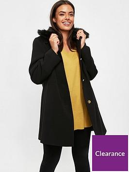 evans-faux-fur-collar-dolly-coat-black