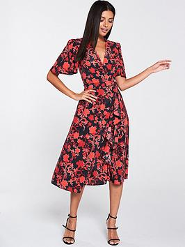 V by Very V By Very Vienna Wrap Frill Midi Dress - Red Floral Picture