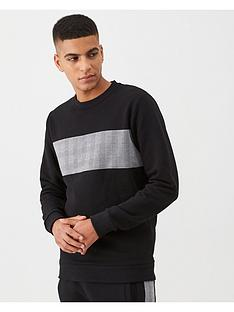v-by-very-check-panel-crew-neck-sweater-black