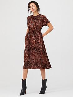 calvin-klein-cinched-waist-midi-dress-leopard