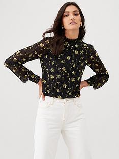 oasis-daffodil-lace-trim-high-neck-top-multi-black