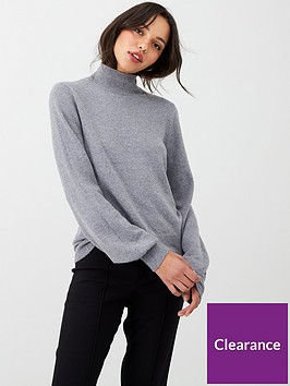 oasis-betty-balloon-sleeve-turtle-neck-jumper-grey