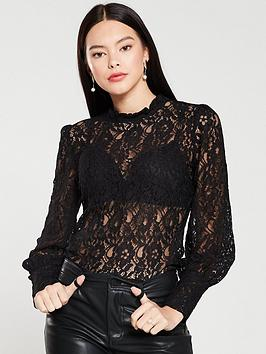 Oasis Oasis Long Sleeve Sheer Lace Top - Black Picture