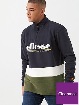 ellesse-cortigiana-quarter-zip-sweat-khaki