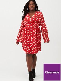 v-by-very-curve-flare-sleeve-babydoll-dress-print