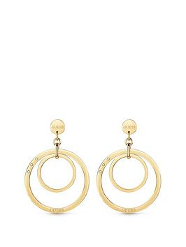 Guess Guess Guess Gold Tone Logo Circles Hoop Earrings Picture