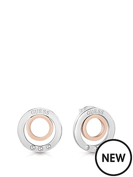 guess-guess-silver-and-rose-gold-tone-logo-circles-crystal-set-stud-earrings
