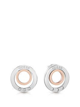 Guess Guess Guess Silver And Rose Gold Tone Logo Circles Crystal Set Stud  ... Picture