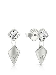 guess-guess-silver-tone-crystal-set-logo-arrow-drop-earrings