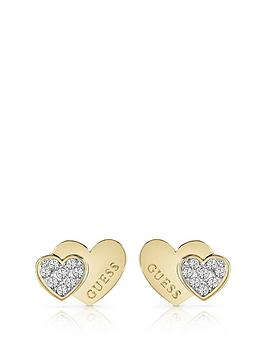 Guess Guess Guess Gold Tone Crystal Set Double Heart Stud Earrings Picture