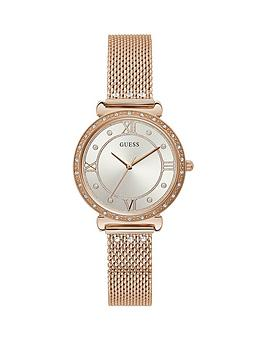 Guess Guess Silver Crystal Set Dial Rose Gold Stainless Steel Mesh Strap Ladies Watch
