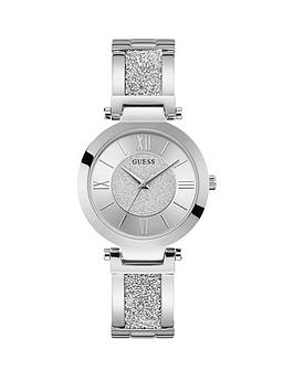 Guess Guess Guess Aurora Silver Glitter Dial Stainless Steel And Glitz  ... Picture