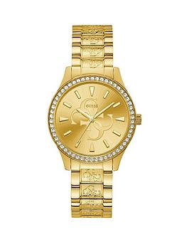 Guess Guess Guess Anna Gold Logo Sunray Crystal Set Dial Gold Stainless  ... Picture