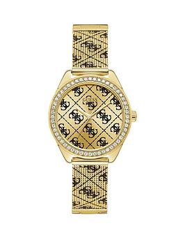 Guess Guess Guess Claudia Gold Sunray And Black Logo Crystal Set Dial Gold  ... Picture