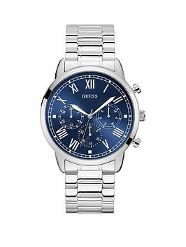 guess-guess-hendrix-blue-sunray-and-silver-detail-chronograph-dial-stainless-steel-bracelet-mens-watch