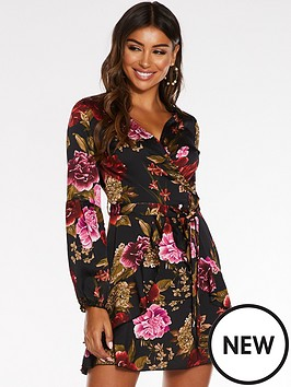 quiz-quiz-satin-floral-wrap-front-balloon-sleeve-frill-skirt-dress
