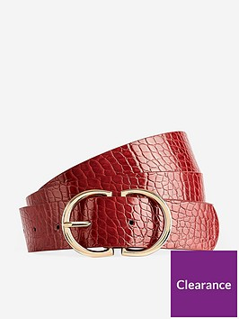 dorothy-perkins-dorothy-perkins-croc-two-part-buckle-belt-red