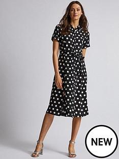 dorothy-perkins-dorothy-perkins-spot-shirt-dress-black
