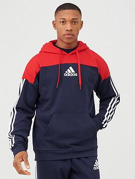 Adidas Adidas 3 Stripe Panel Overhead Hoodie - Red/Navy Picture