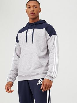 Adidas Adidas 3 Stripe Panel Overhead Hoodie - Grey/Navy Picture