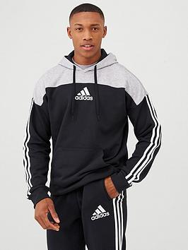 Adidas Adidas 3 Stripe Panel Overhead Hoodie - Black/Grey Picture