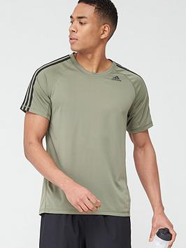 Adidas   3 Stripe Training T-Shirt - Green