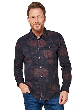 Joe Browns Joe Browns Rose Print Shirt - Navy/Burgundy Picture