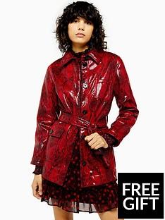 topshop-topshop-vinyl-snake-belted-jacket-red