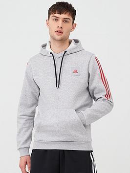 Adidas Adidas 3 Stripes Overhead Hoodie - Medium Grey Heather Picture