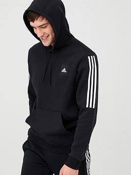 Adidas   3 Stripe Overhead Hoodie - Black