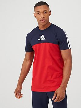Adidas   3 Stripe Panel T-Shirt - Red/Navy