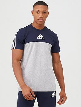 Adidas   3 Stripe Panel T-Shirt - Grey/Navy
