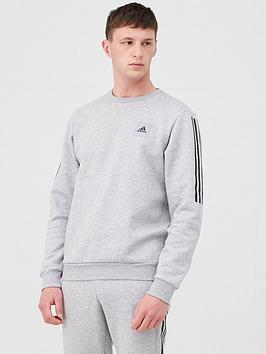 Adidas   3 Stripe Crew Sweat - Medium Grey Heather