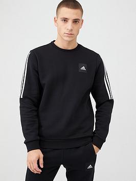 Adidas   3 Stripe Crew Sweat - Black