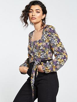 V by Very V By Very Ditsy Button Through Crop Top - Purple Picture