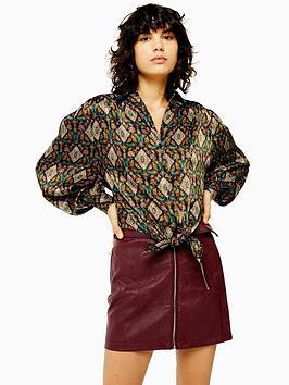 topshop-tile-print-knot-front-shirt-multi