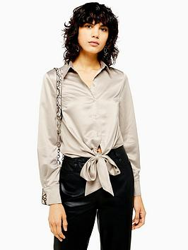topshop-satin-knot-front-shirt-taupe