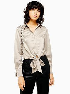 topshop-topshop-satin-knot-front-shirt-taupe